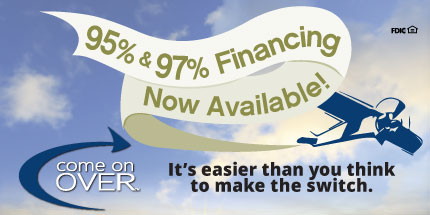 Image: plane pulling banner, text: '95% to 97% Financing Now Available!'